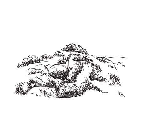 trek: Hand drawn mountains vector illustration. Landscape sketch.