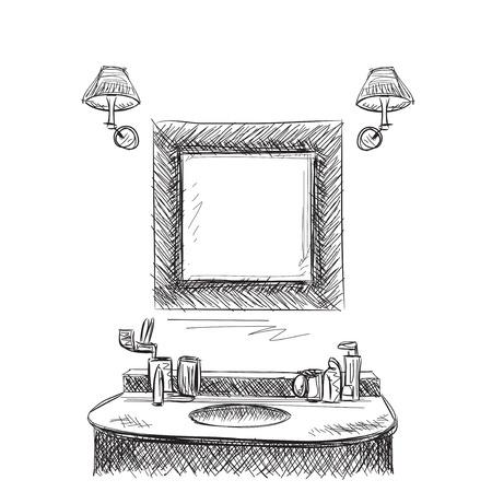 toilet paper art: Bathroom interior elements. Hand drawn mirror and washbasin.