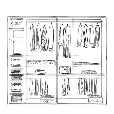 Hand drawn wardrobe sketch. Furniture for clothes. Illustration