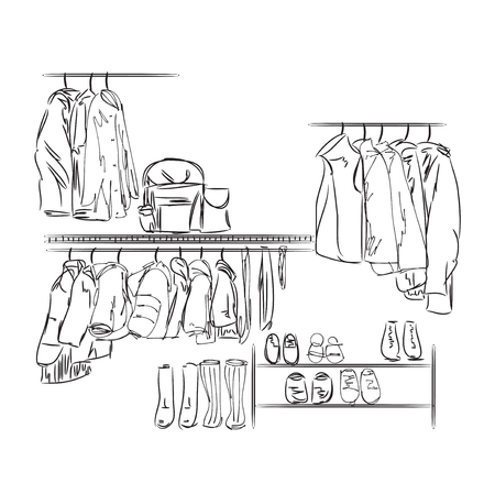 baby wardrobe: Hand drawn wardrobe sketch for children. Furniture for clothes.