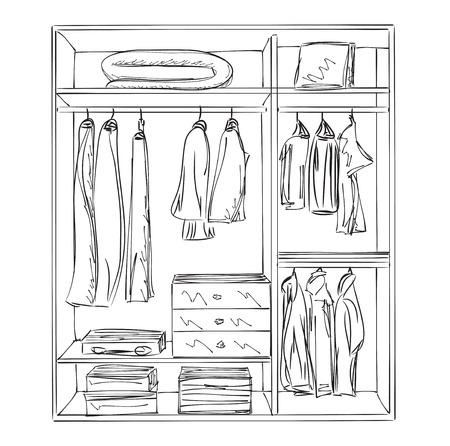 shoe box: Hand drawn wardrobe sketch. Furniture for clothes. Illustration