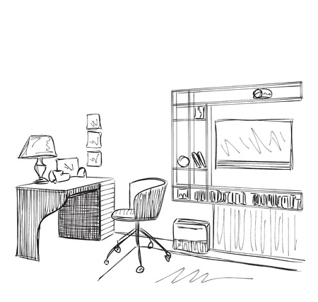 design drawing: Modern interior room sketch. Hand drawn workplace.