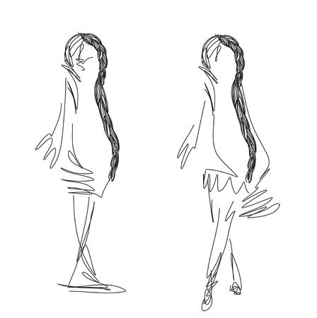 braid: Fashion models Sketch with braid. Hand drawn vector illustration