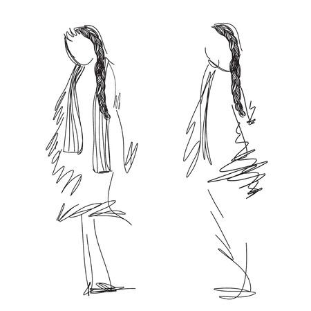 supermodel: Fashion models Sketch with braid. Hand drawn vector illustration