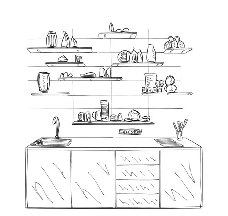pickle: Hand drawn kitchen cupboard. Shelves in the interior.