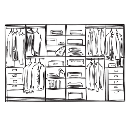 hanging woman: Hand drawn wardrobe sketch. Furniture for clothes. Illustration