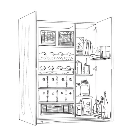 pantry: Hand drawn furniture sketch. Cartoon pantry of the line