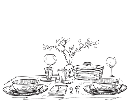 napkin: Detailed Illustration of a Vintage Hand Drawn Place Setting Formal Dinner Place Mat