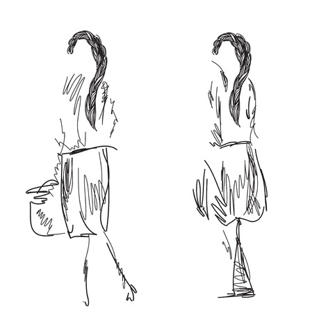 wares: Fashion models sketch. Cartoon girls with wares