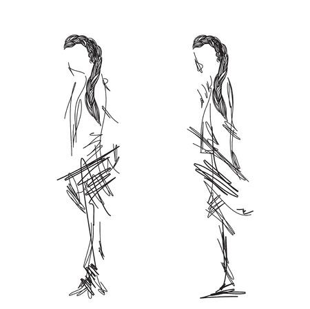 wares: Fashion models sketch. Cartoon girls with wares
