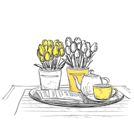 wares: Hand Drawn dinner wares. Tea and flewers for nice breakfast