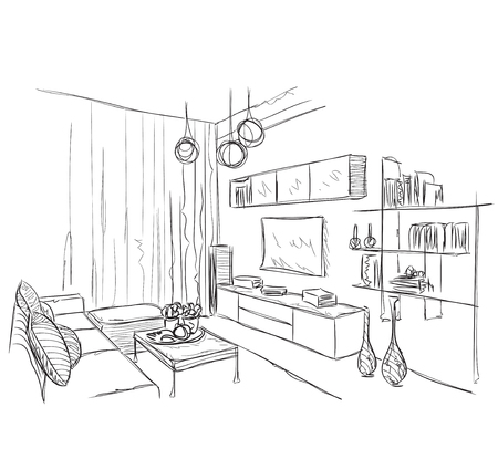 Modern interior room sketch. Hand drawn vector illustration Illustration