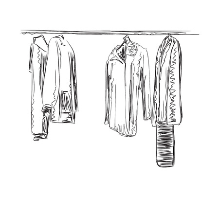 office wear: Hand drawn wardrobe sketch. Mans and womans clothes Illustration