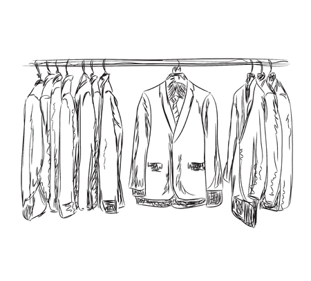 hanging woman: Hand drawn wardrobe sketch. Mans business suit