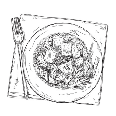 potato salad: Hand drawn food sketch. Dish of the meat and vegetables. Illustration