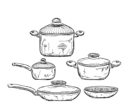 fryer: Hand drawn Illustration of Dishware. Cooking equipment. Illustration