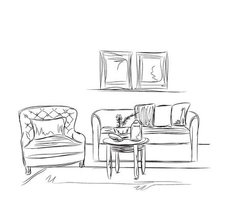 modern interior: Modern interior room sketch. Hand drawn sofa illustration