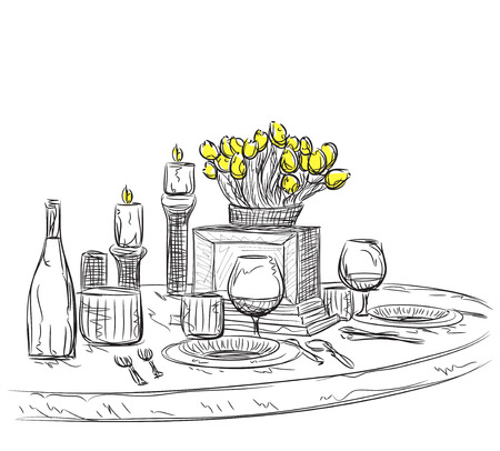 wares: Vector illustration of a romantic table for two. Holiday wares. Illustration