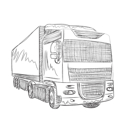 hand truck: Delivery service illustration. Hand drawn truck sketch.