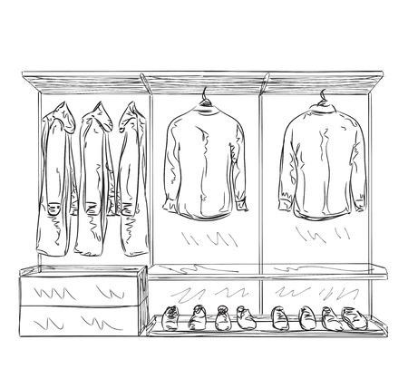 Hand gezeichnet Kleiderschrank Skizze. Zimmereinrichtung mit Kleidung. Vektorgrafik