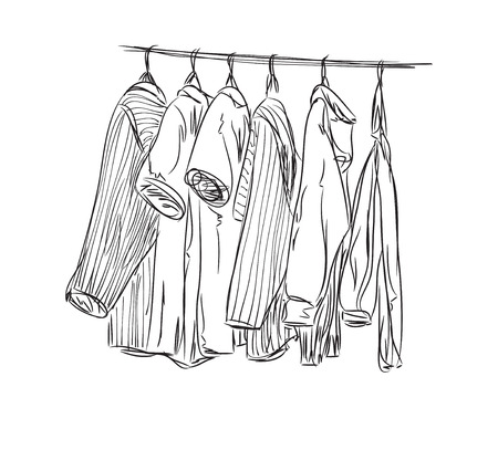 open shirt: Hand drawn wardrobe sketch. Clothes of the hanger.