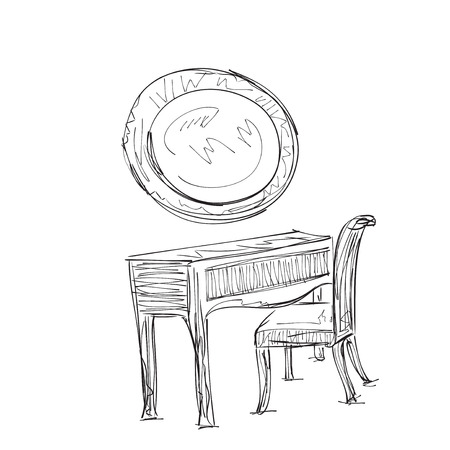 vanity: Vanity table and folding chair illustration sketch Illustration