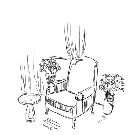 Place for reading with chair sketch. H