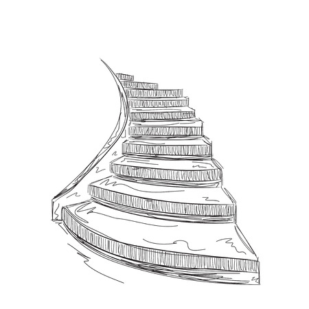 upstairs: Hand drawn staircase sketch. Interior house element. Illustration