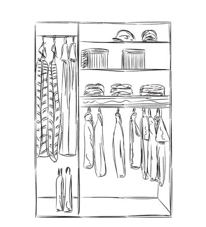 Kleiderschrank gezeichnet  Hand Gezeichnet Kleiderschrank Skizze. Kleidung Des Hängers ...