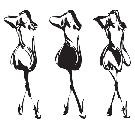 sexy girls: Fashion model sketch. Hand drawn cartoon girl in the dress.