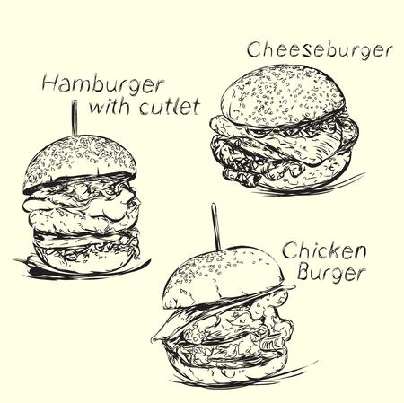 Hand drawn hamburger and cheeseburger. Fast food delivery. Vectores