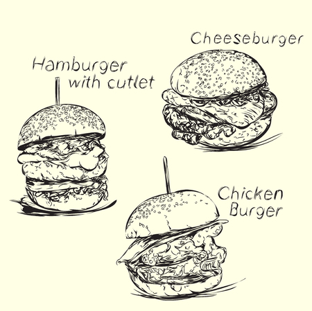Hand drawn hamburger and cheeseburger. Fast food delivery. Stock Illustratie