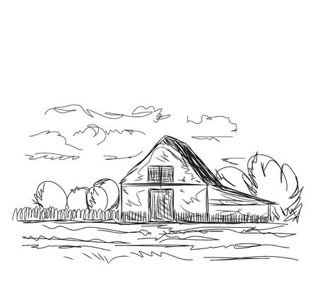 Mano vettore paesaggio disegnato agrario con campi e il villaggio.