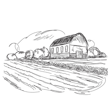agrarian: Hand drawn vector landscape with agrarian fields and village.