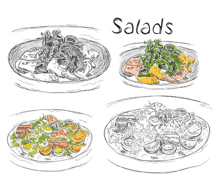 Dibujado a mano menú de almuerzo de negocios. Ensaladas boceto.