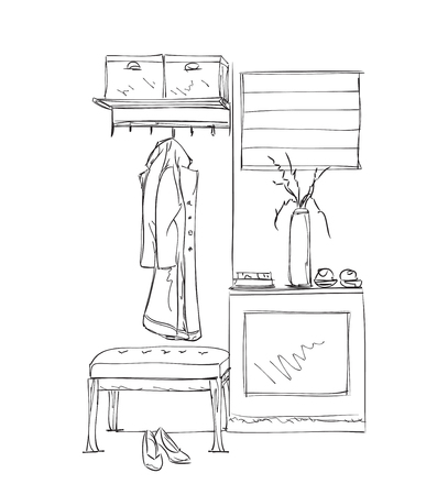 hanging woman: Hand drawn wardrobe sketch with clothes. Hall interior.