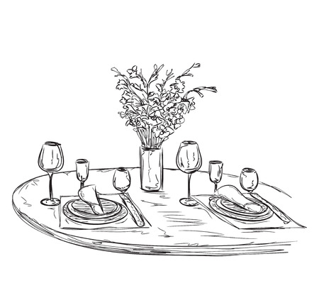 dinner date: Romantic dinner with wine. Hand drawn wares