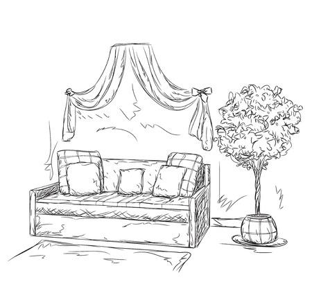 modern interior: Modern interior room sketch. Hand drawn sofa.