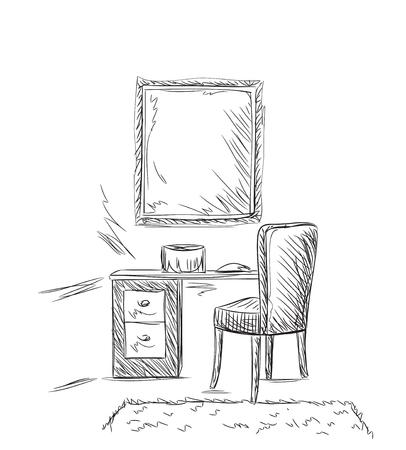 Schminktisch, Spiegel und Stuhl Illustration Skizze.