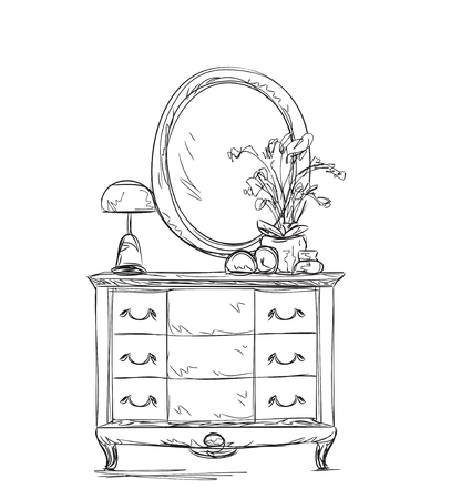 commode: Furniture console table, mirror with frame sketch.