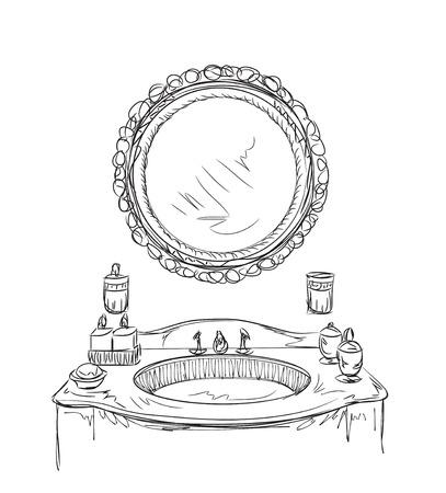 Baño elementos interiores. Croquis dibujado a mano espejo. Ilustración de vector