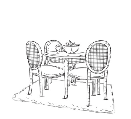 date fruit: Hand drawn table in the interior. Room interior sketch.