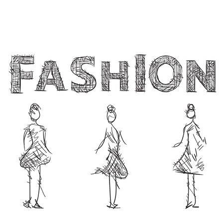 supermodel: Fashion models sketch. Drawn letters of the logo.