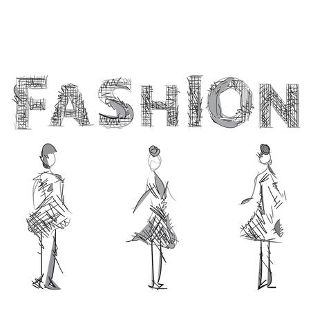 supermodel: Fashion models sketch.