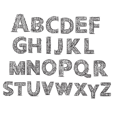 writting: Hand drawn doodle alphabet. Vector letters illustration Illustration