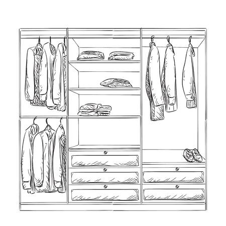 Kleiderschrank gezeichnet  Hand Gezeichnet Kleiderschrank Skizze. Kleidung Und Choes ...