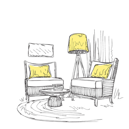 reading room: Place for reading with chair sketch. Room interior.