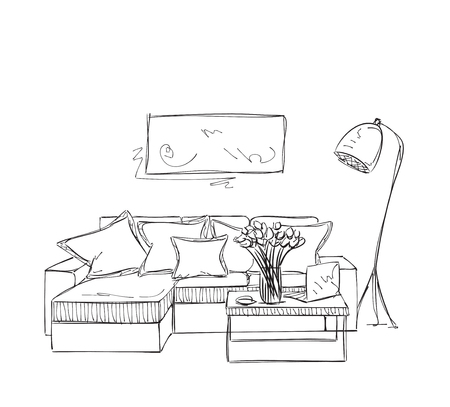 Room interior sketch. Hand drawn sofa. Place for reading