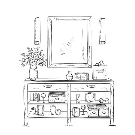 Die Möbel für die Frau. Hand unter Skizze gezeichnet. Vektorgrafik