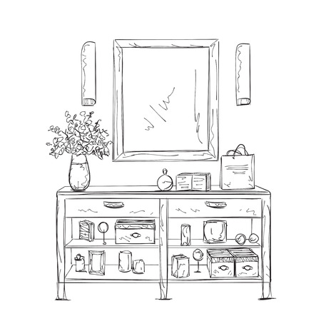 vanity table: Furniture for woman. Hand drawn interior sketch.
